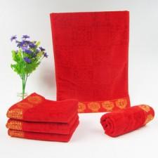 【3351-1-灯笼】 婚庆毛巾竹纤维红毛巾回礼毛巾批发