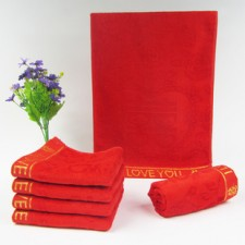 【3351-LOVE】竹纤维红毛巾 喜字毛巾 高档竹纤维婚庆毛巾