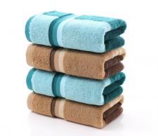 【6214-彩条色纱深色毛巾】纯棉色纱深色超市高端毛巾