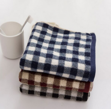 【5014-大气方格深色方巾】纯棉AB纱大气方格男士毛巾定制LOGO
