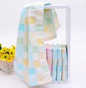 【6212-双层纱布彩格童巾】双层纯棉小方巾 纱布方格童巾 儿童婴儿口水巾批发