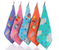 【6112-2-三层布艺小方巾】棉纱布三层方巾婴幼儿童提花小毛巾幼儿园卡通擦手巾
